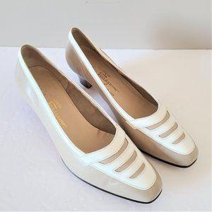 Vintage Salvatore Ferragamo beige and white shoes.